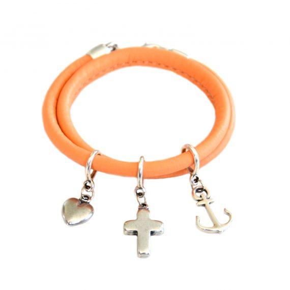 Leren armband Oranje dubbel zilver