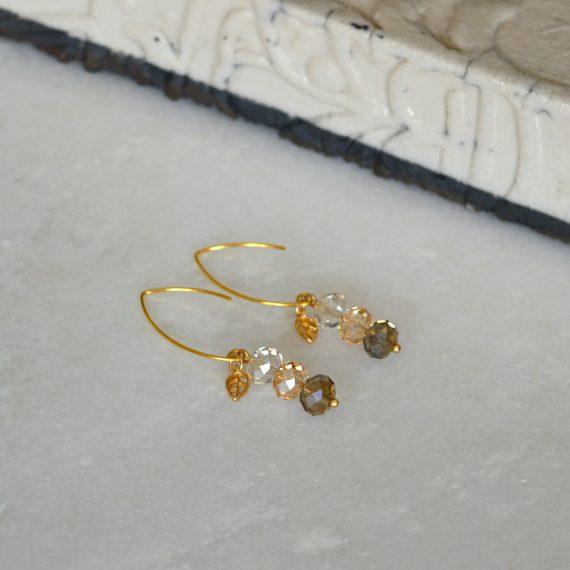 Earrings Beige Love Gold
