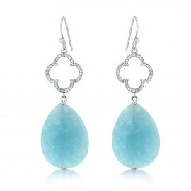 Clover Earrings Blue Silver Licht