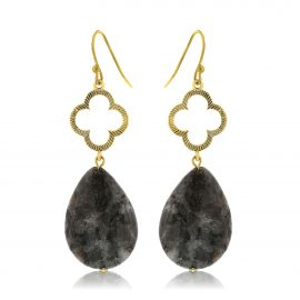 Clover Earrings Black Gold