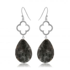 Clover Earrings Black Silver