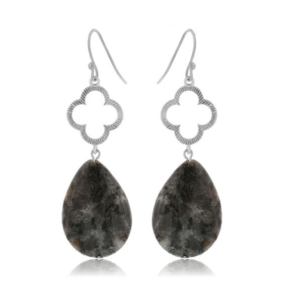 Clover Earrings Black Silver