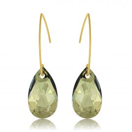 Earrings Glamour Iridescent Green Gold licht