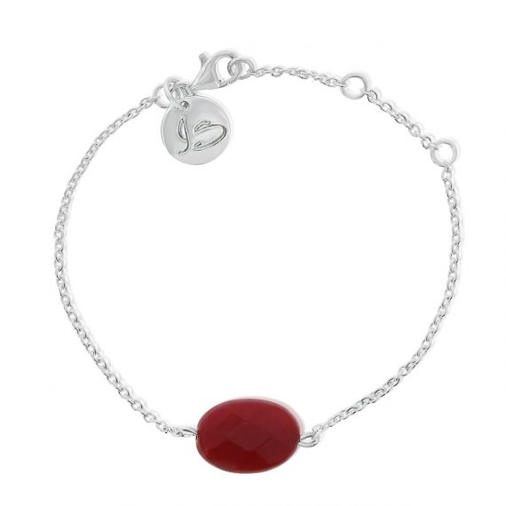 Gemstone Bracelet Red Silver