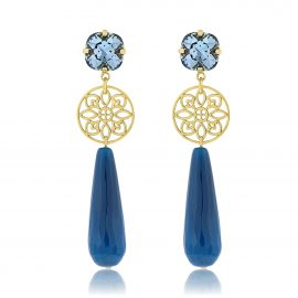 Princess Earrings Blue Gold