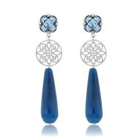 Princess Earrings Blue Silver