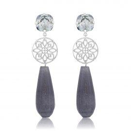 Princess Earrings Grey Silver