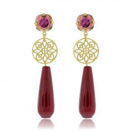 Princess Earrings Oxblood Gold