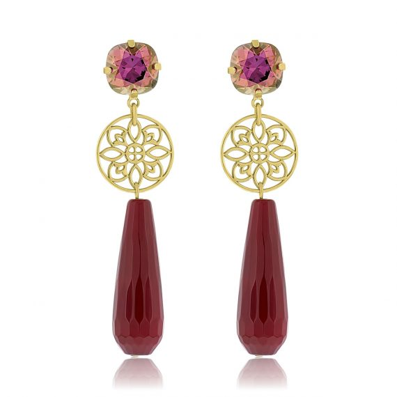 Princess Earrings Oxblood Gold