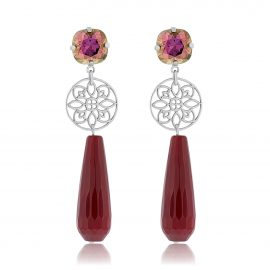 Princess Earrings Oxblood Silver