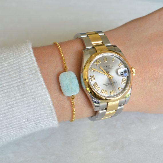 Gemstone Bracelet Aqua Gold