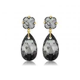 Double Glamour Earrings Black Gold