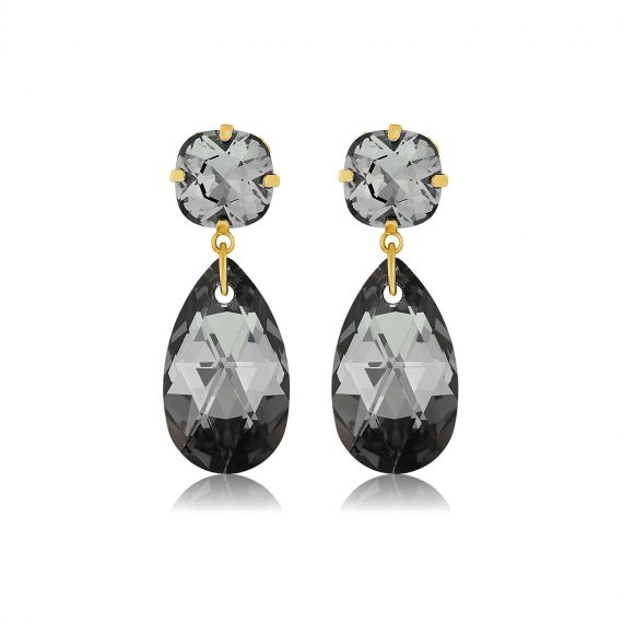 Double Glamour Earrings Black Gold