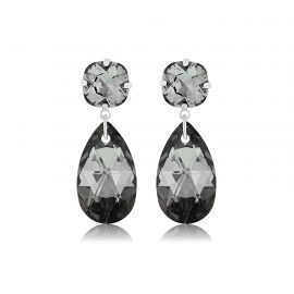 Double Glamour Earrings Black Silver