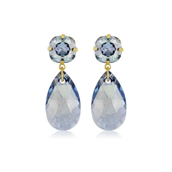 Double Glamour Earrings Blue Gold