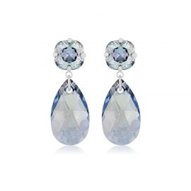 Double Glamour Earrings Blue Silver