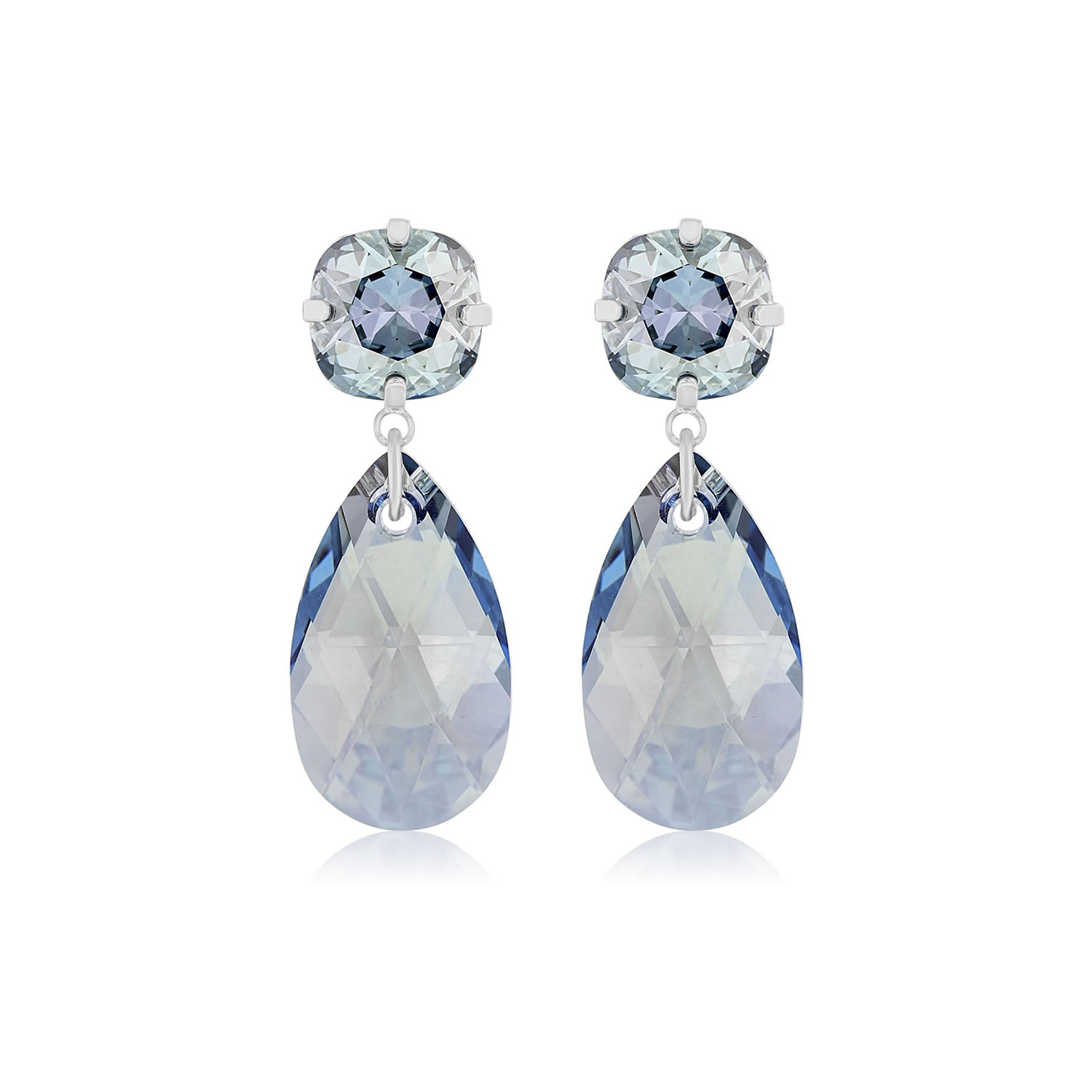 Glitz Glam Blue Diamontrigue Jewelry: Double Glamour Earrings Blue Silver