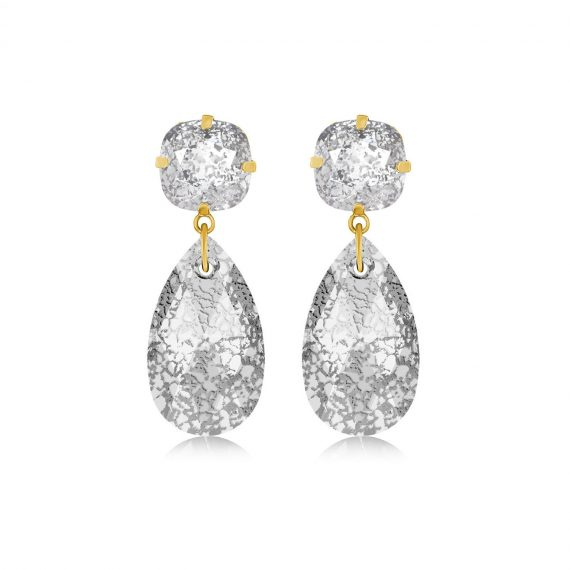 Double Glamour Earrings Crystal Gold