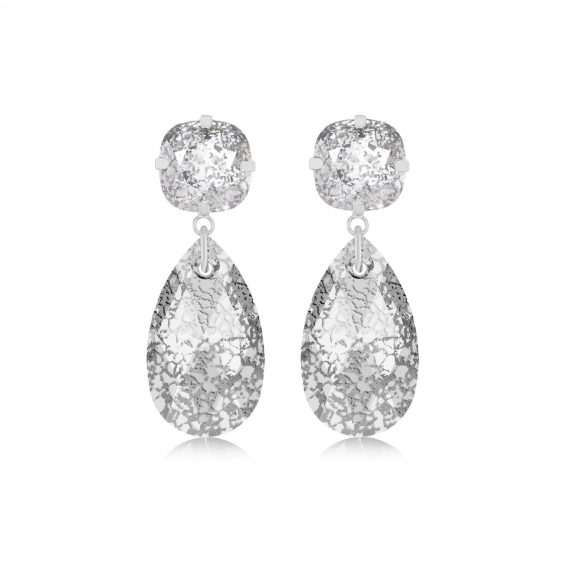 Double Glamour Earrings Crystal Silver