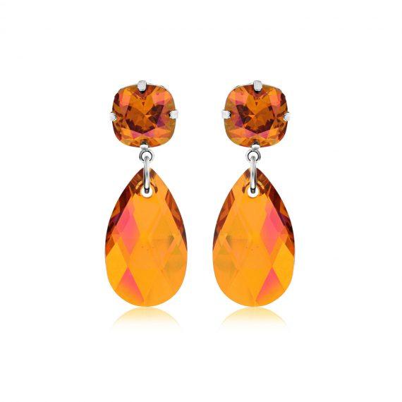 Double Glamour Earrings Orange Silver