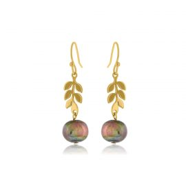 Earrings Leaves Gold