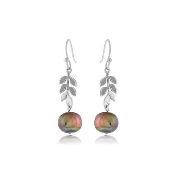 Earrings Leaves Silver
