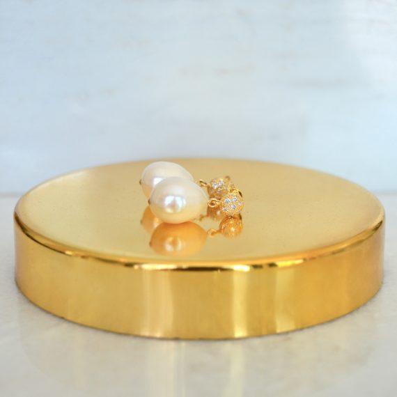 Earrings Queen Pearls Gold Still