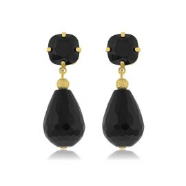 Earrings Sparkling Black Gold