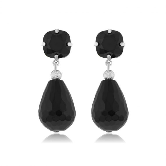 Earrings Sparkling Black Silver