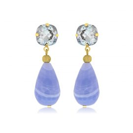 Earrings Sparkling Blue Gold