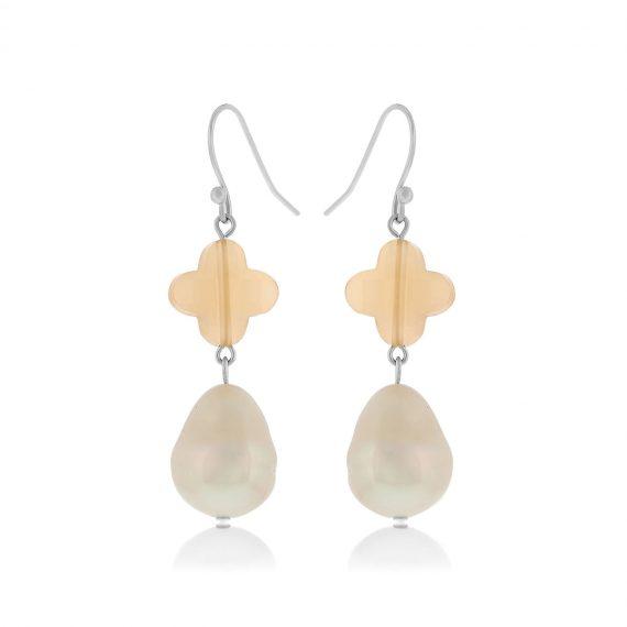 Lucky Pearl Earrings Silver
