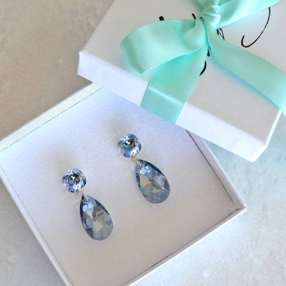 Double Glamour Earrings Blue Silver Still