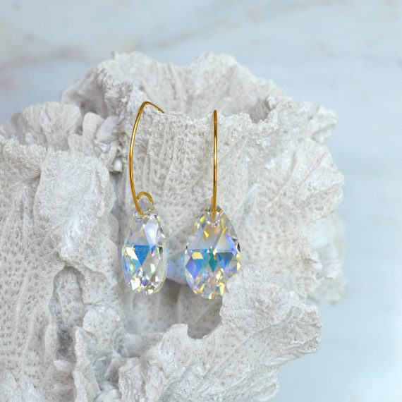 Earrings Glamour Crystal AB Gold Still