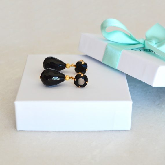 Earrings Sparkling Black Gold Still