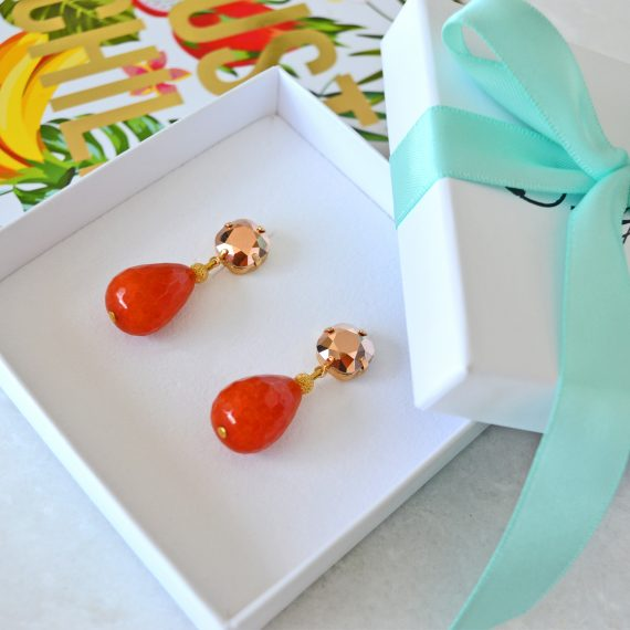 Earrings Sparkling Orange Gold Still