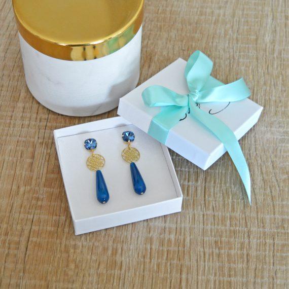 Princess Earrings Blue Gold Still
