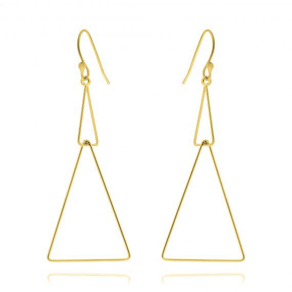 Earrings Double Triangle Gold