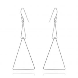 Earrings Double Triangle Silver