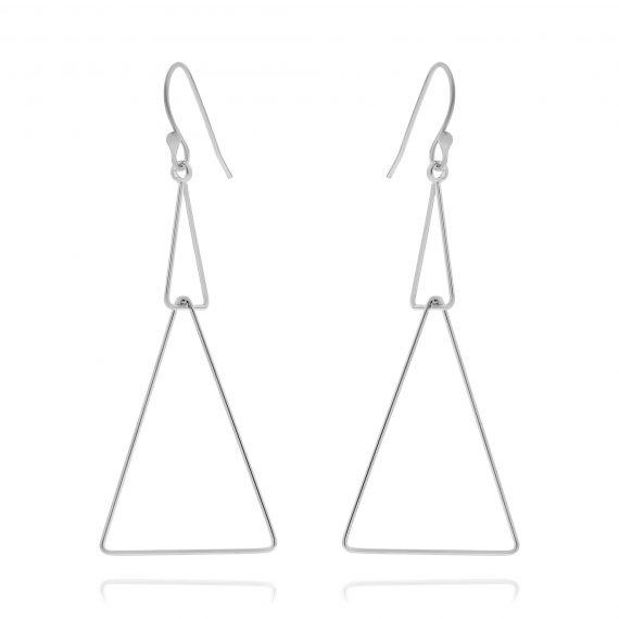 Earrings Double Triangle Silver