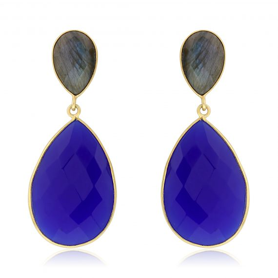 Gemstone Teardrops Cobalt Chalcedony