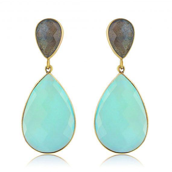 Gemstone Teardrops Labradorite-Aqua 2