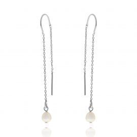 Subtle Pearl Earrings Silver