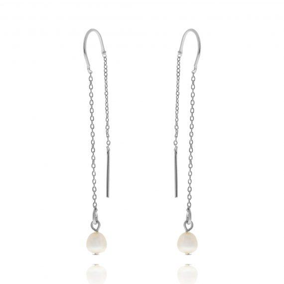 Subtle Pearl Earrings Silver