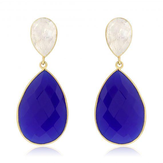 Gemstone Teardrops Cobalt Chalcedony White