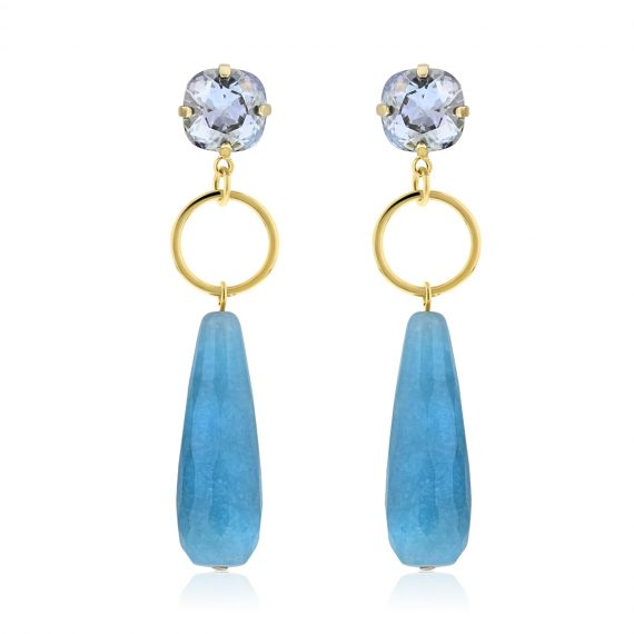 Luxury Earrings Blue Gold