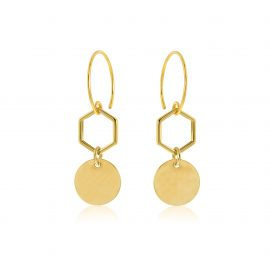 Earrings Hexagon Goldplated