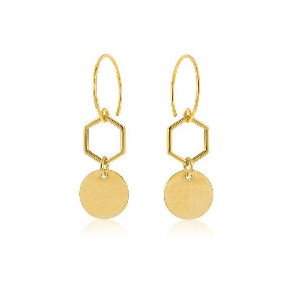 Earrings Hexagon Goldplated