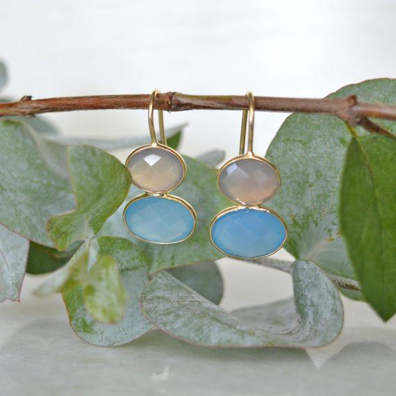 Little Earrings Blue Gold