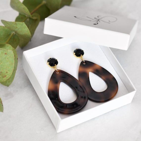 Big Earrings Black Gold