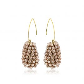 Disco Ball Earrings Beige